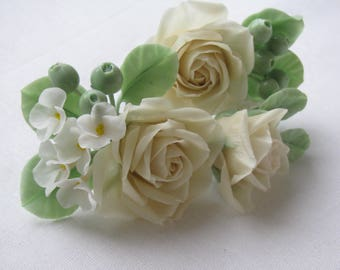 Hairpin with the flowers of polymer clay