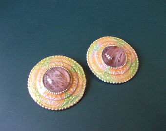 Vintage Ellen Designs Lavender Marble Cloisonne Country Western Southwestern Style Clip On Earrings