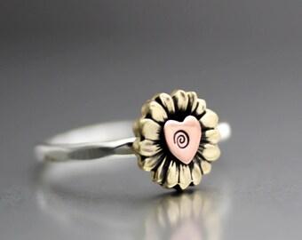 Yellow Sunflower Ring, Flower Ring, Sunflower Stack Ring, Heart Ring, Sterling Ring, Silver Ring, Yellow Sunflower Ring, Love Ring