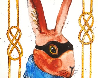 "Original watercolour,mixed media illustration ""Bandit rabbit"" ,animal, bunny,rabbit, painting,funny.animal art,hare"