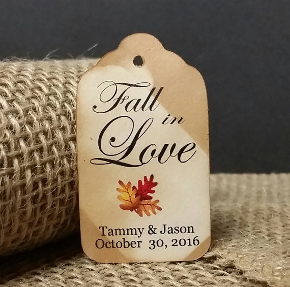 Fall in Love MEDIUM Personalized Wedding Favor Tag  choose your amount