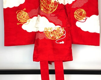 """Japanese K0208 Cute Kids Kimono """"Okedashi-Shibori"""" Hitotsumi-Ubugi"""