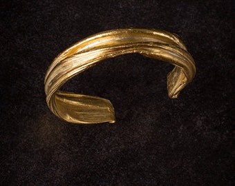 Golden PRIESTESS Cuff, Ancient Greek cuff, Art Nouveau cuff, Celtic cuff