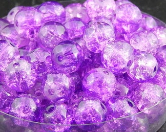 Purple Crackle glass beads 8mm, set of 20