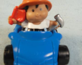 Vintage-Fisher Price-Blue Car and Driver