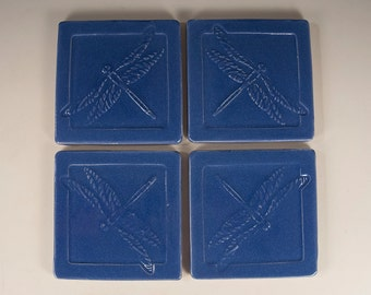 Arts and Crafts Mission Prairie Style Tile Coasters - Set of 4 Dragonfly Design- Blue