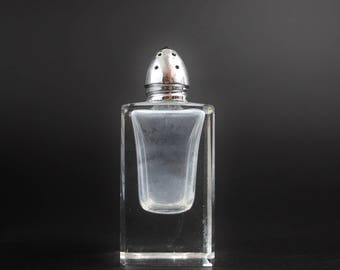 Vintage Cut Glass Salt Shaker Set - Silver Plate Metal Cap on Crystal Glass