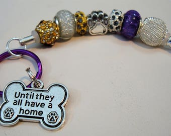 Animal Rescue dogs and cats Pets European style key chain purse beads charm car charm Paws green & gold Help save a cat/kitten