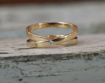 Gold infinity ring  with diamond, diamond infinity ring
