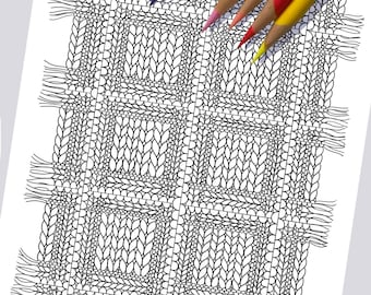 KNIT PLAID Coloring Page / Printable Coloring Page / Drawing of Knitting / PDF Knit Plaid Art