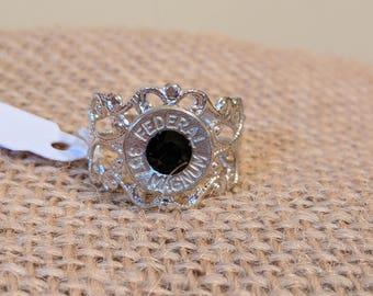 Antique Silver Bullet Ring with Black Swarovski Crystal