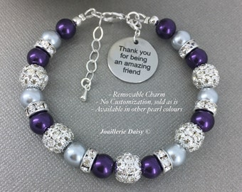 Thank you for being an amazing friend Bracelet Pearl Jewelry Pearl Bracelet Gift for Best Friend Best Friend Bracelet Charm Bracelet