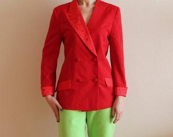 Bright Red Blazer Women's Vintage Jacket 80s 90s Blazer Double Breasted Blazer Red Jacket with Stones Asymmetrical Collar