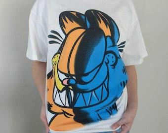 Garfield Oversized Night Shirt T-shirt Graphic Angry Garfield Cat Graffiti Street Wear Signal Artwear PAWS Made in USA Size Men's Large