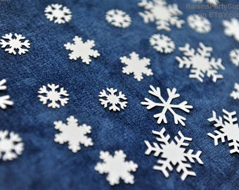Snowflake confetti Silver & White Winter holiday decorations Custom color Sowflake big and small Snowflake die cut Winder decorations DIY