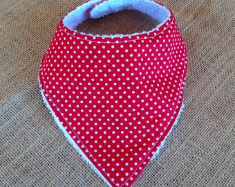 CLEARANCE Small Baby Dribble Bib - Red/White Small Spots