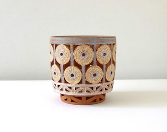 Basket -Straw/Gray with Brown Interior