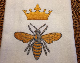 Bathroom 16x26 Velour Hand Towel - Queen Bee with Crown Embroidery