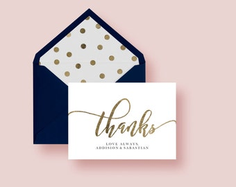 Thanks Folded Card Editable Template GOLD| Thank You Card, Hand Lettered, Calligraphy | Wedding  5x3.5"