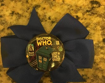 Doctor Who Tardis Blue Hair Bow
