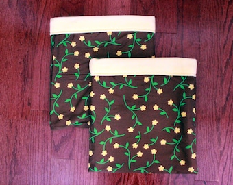Pale Yellow Brown Floral - Double Snuggle Sack Set for Small Animals