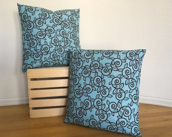 Blue and Brown Pillow Cover Decorative Pillow Cover Throw Pillow Cover
