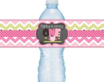 Custom 1st Birthday Water Bottle Labels, Owl Birthday Water Bottle Labels, First Birthday Water Bottle Labels, Fit on 16.9 oz bottles