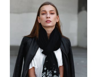Scarf,bohemian,black and white, modern girl,own design,infinity,embroidery,tassels,soft,for her,spring scarves,elegant