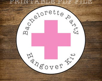 PRINTABLE STICKERS Bachelorette Party Hangover Kit, pink cross, Bachelorette favor, hen party favor, hangover kit, printable favor sticker