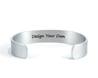 "Personalized cuff bracelet DESIGN YOUR OWN 1/2"" with hidden / secret message for Awareness/ Mother / Daughter / Sister/ Best Friend Gift"