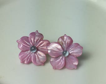 Mother of Pearl Flower Earrings in Pink and Gray
