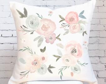 Pillow Cover Floral Pastel Flowers Auriel Throw Pillow
