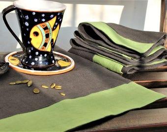 Linen napkins, Graphite, Grey, Pistachio, Easter day gift, Set of 4
