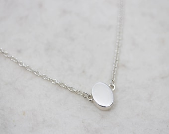 Sterling silver oval dot necklace, everyday necklace, simple delicate necklace, Dainty necklace. Dot necklace 4x6mm. dot charm