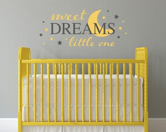 Sweet Dreams Little One Decal - Moon Nursery Decal - Stars wall sticker - Large