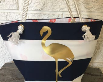 Flamingo Beach Bag, FlamingoTote, Large BookBag, Waterproof Beach Bag, Cabana Stripe, Gold Flamingo, Flamingo Gift Cruise Tote