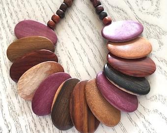 Oval Wood Statement Necklace, Costa Rican Wood Jewelry, Handmade Wood Jewelry