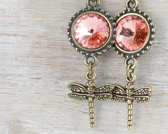 Summer Jewelry Beaded Earrings Dragonfly Jewelry Antique Brass and Swarovski Crystal Rose Pink Peach Dragon Fly Long Tall Earrings