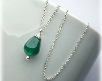 Jade Necklace, Sterling Silver, Green Jade Necklace, Jade Jewelry, Jade Pendant Necklace, Mothers Day Gift For Women, Simple Necklace Drop