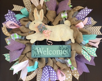 Spring welcome wreath with bunny