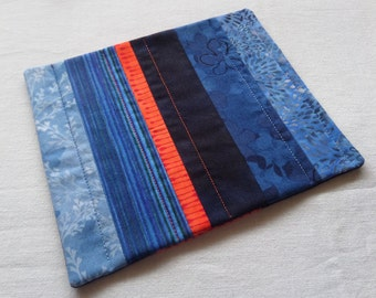 NEW Blue and Orange Scrappy Patchwork Coffee Coaster, Mug Rug, Snack Mat