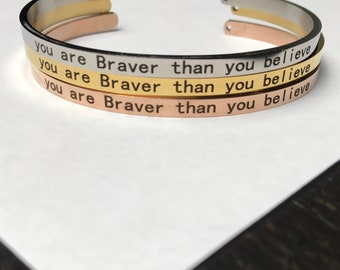 Mantra Brave Bangle Bracelet, Silver Yoga Inspirational Quote Bangle Cuff Bracelet, Stainless Steel Rose Gold Strength Brave Quote Bracelet
