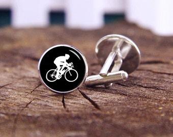 Cyclist Cufflinks, Cycling Cufflinks, Custom Sport Cuff Links, Bicycle Cufflink, Custom Wedding Cufflinks, Groom Cufflinks,Tie Clips, Or Set