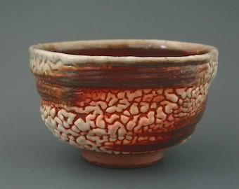 Chawan, wood-fired iron rich stoneware with crawling shino and natural ash glazes