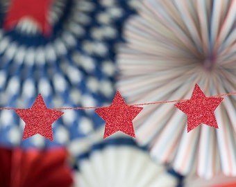 Red Glitter Star Garland | 4th of July Party Patriotic Party Decor Red Star Garland Stars and Stripes Memorial Day Little Star Banner