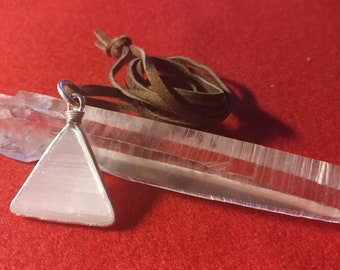 Selenite Triangle and 925 Silver Pendant with Suade Brown Cord