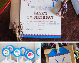 Cowboys & Indians Birthday Invitation