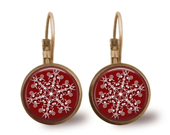 Christmas Earrings Snowflake Earrings Christmas Jewelry Tile Earrings Holiday Jewelry Holiday Earrings Santa Jewelry Beaded Jewelry