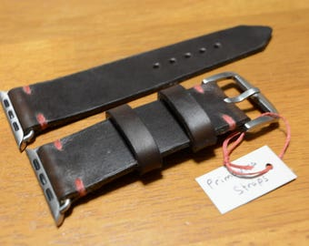 Apple Watch 38mm or 42mm Vintage Hand Crafted Watch Strap - Horween Chromexcel Leather Brown or Black