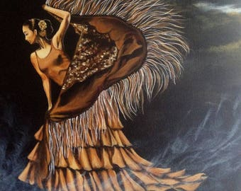 """""""Dancing in the wind"""" - painting on canvas Board"""